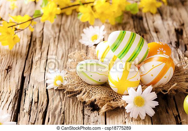 legno, uova, pasqua, superficie - csp18775289
