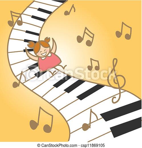 lei, fantasry, gioia, musicale, ragazza, pianoforte - csp11869105