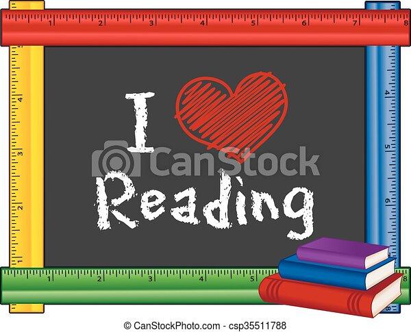 lettura, righello, amore, cornice - csp35511788