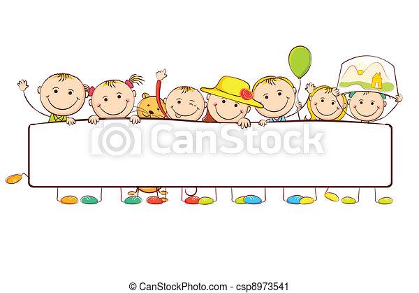levarsi piedi dietro, bambini, bandiera - csp8973541