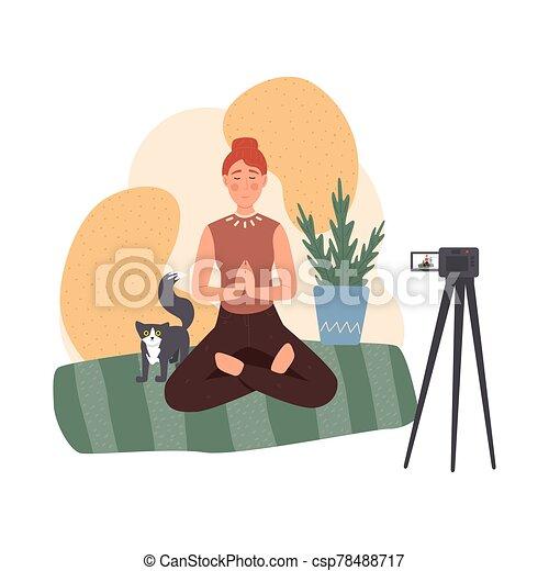 lifestyle., meditazione, circa, sano, blog - csp78488717