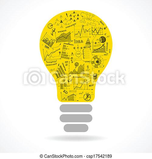 lightbulb, scarabocchiare, idea, tabelle, infographics, icona - csp17542189