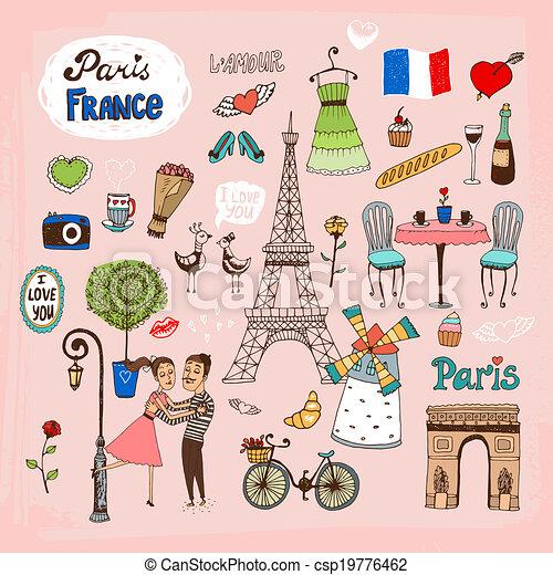 limiti, francia, parigi, icone - csp19776462