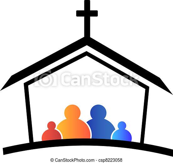 logotipo, chiesa, famiglia, fede - csp8223058
