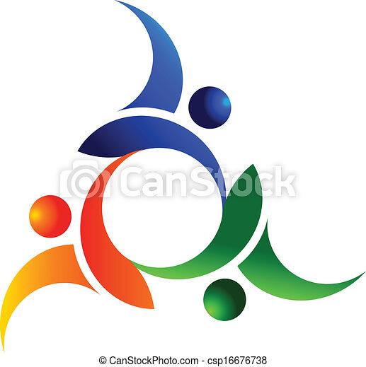 logotipo, sociale, lavoro squadra, persone - csp16676738