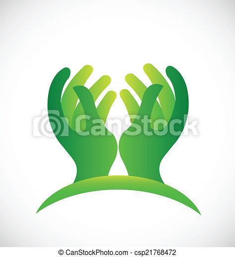 logotipo, speranzoso, verde, mani - csp21768472