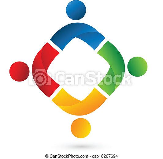logotipo, squadra, persone, domanda - csp18267694
