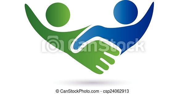 logotipo, stretta di mano, persone affari - csp24062913