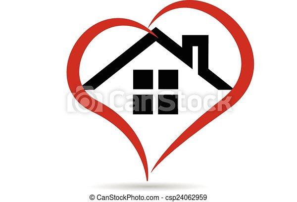 logotipo, vettore, cuore, casa - csp24062959