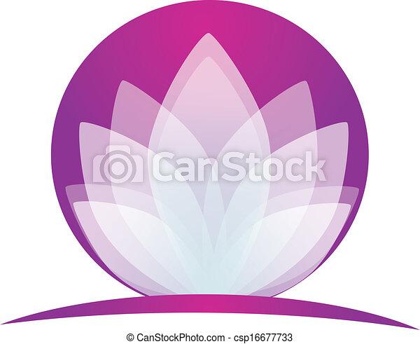 loto, logotipo, fiore, domanda - csp16677733