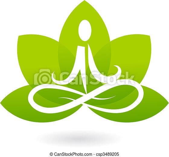 loto, logotipo, yoga, /, icona - csp3489205