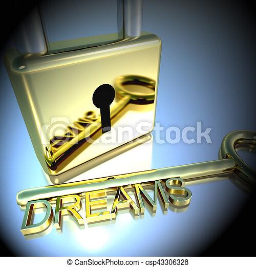 lucchetto, esposizione, interpretazione, auguri, fare un sogno, chiave, speranza, 3d - csp43306328