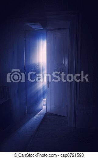 luce blu, dietro, raggi, porta - csp6721593