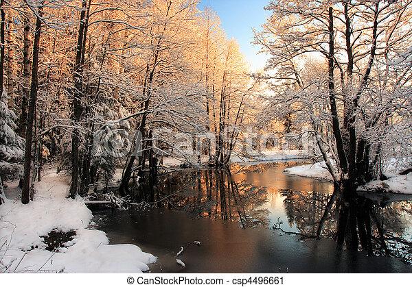 luce, fiume, inverno, alba - csp4496661