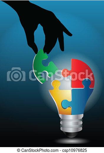 luce, immagine, mano, vettore, umano, bulbo, puzzle, accoppiamento - csp10976825