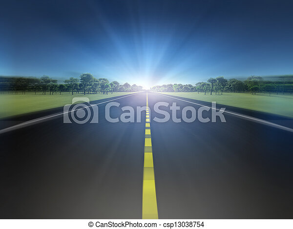luce, spostamento, strada, verde, verso, paesaggio - csp13038754