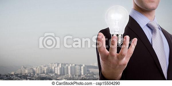luce, uomo, affari, presa a terra, bulbo - csp15504290
