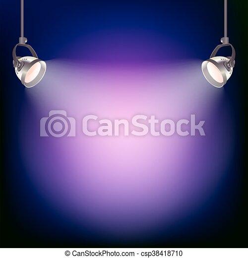 luce, vettore, proiettore, illustrazione, fondo. - csp38418710