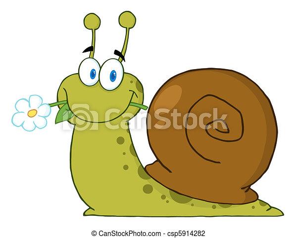 lumaca, felice, cartone animato - csp5914282