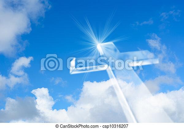 luminoso, cielo, irradiare, croce, bianco - csp10316207