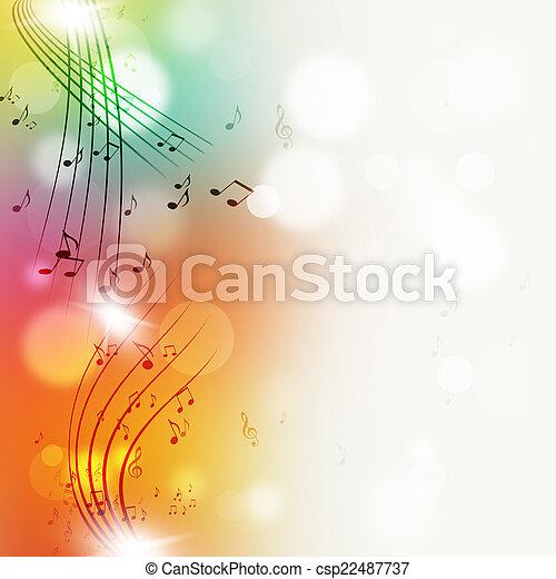 luminoso, note, muisc, multicolor, fondo - csp22487737