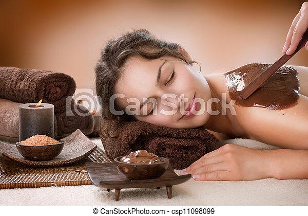 lusso, mask., cioccolato, trattamento, terme - csp11098099