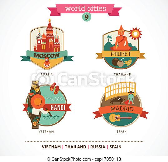 madrid, hanoi, etichette, -, mosca, mondo, città, phuket - csp17050113