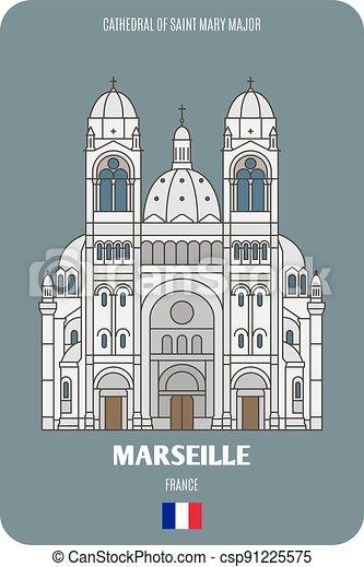 maggiore, cattedrale, marseille, mary, francia, santo - csp91225575