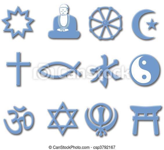 maggiore, set, religione, simbolo, religioni, mondo, 3d - csp3792167