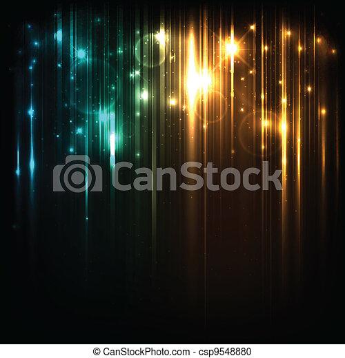 magia, stelle, luci, luminoso, vettore, fondo - csp9548880