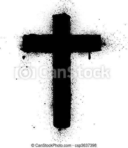malato, croce, spruzzo, vettore, graffito, inchiostro - csp3637398