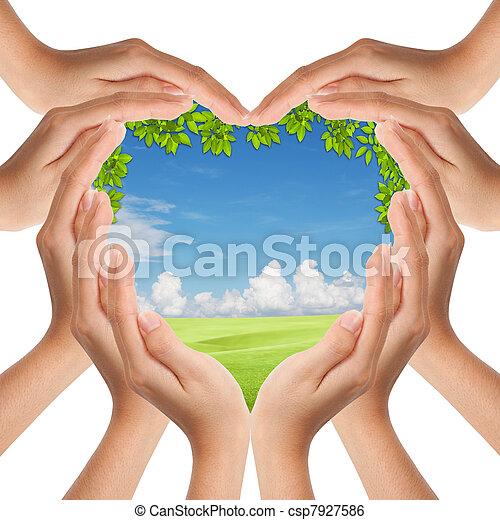 mani, cuore, fare, coperchio, natura, forma - csp7927586