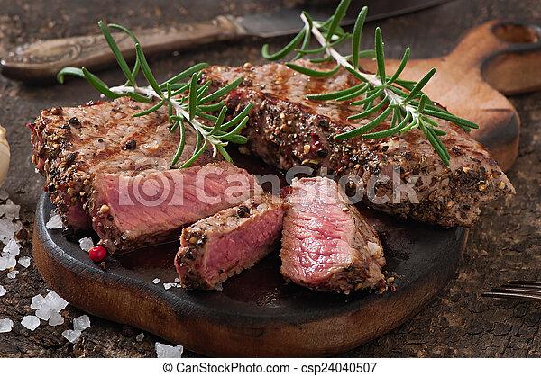 manzo, raro, succoso, bistecca, mezzo - csp24040507