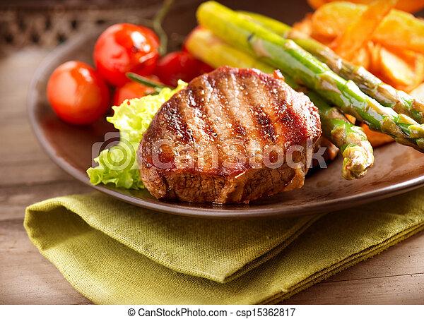 manzo, verdura, cotto ferri, bistecca, carne - csp15362817