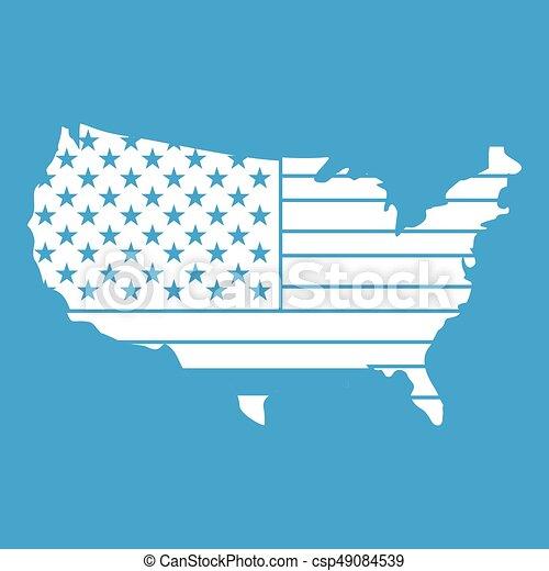 mappa, americano, bianco, icona - csp49084539