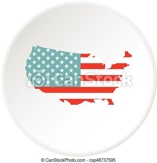 mappa, americano, cerchio, icona - csp48737595