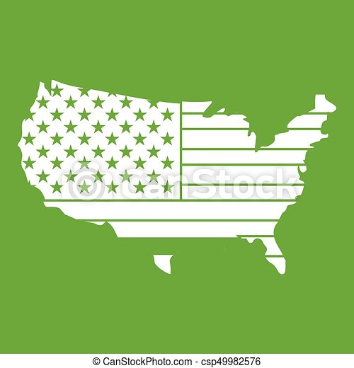 mappa, americano, verde, icona - csp49982576
