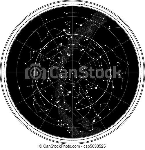 mappa, celestiale, cielo, notte - csp5633525
