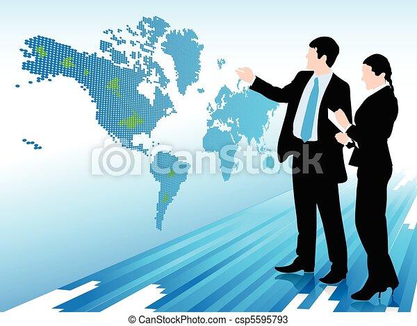 mappa, donna guardando, uomo affari, mondo digitale - csp5595793