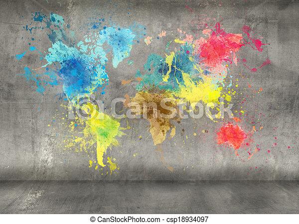 mappa, fatto, vernice, parete, concreto, schizzi, fondo, mondo - csp18934097