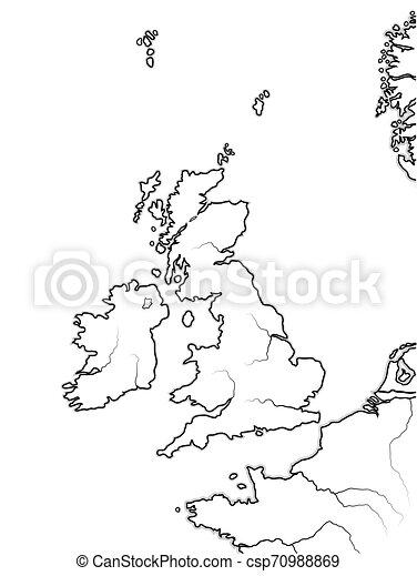 Cartina Geografica Inghilterra E Scozia.Mappa Gran Bretagna Scozia Inghilterra Lands Chart Regno Unito Ireland Inglese Galles Geografico The Gran Canstock