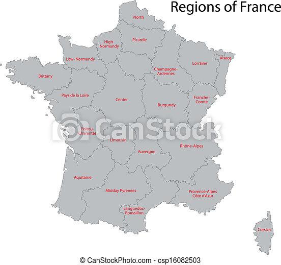 mappa, grigio, francia - csp16082503