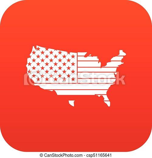 mappa, icona americana, rosso, digitale - csp51165641