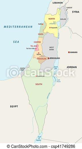 Cartina Israele Giordania.Mappa Israele Amministrativo Amministrativo Israele Politico Mappa Canstock