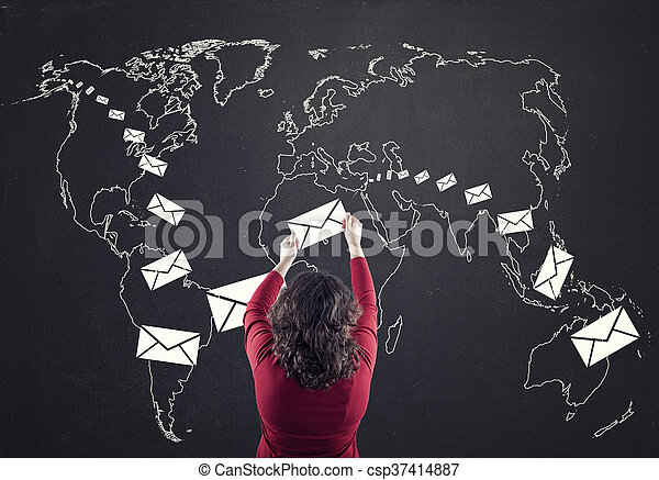 mappa, mondo - csp37414887