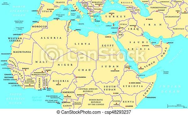 Cartina Muta Mondo Fisica.Carta Politica Africa Del Nord