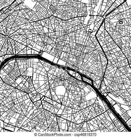 mappa, parigi francia, vettore - csp46818370