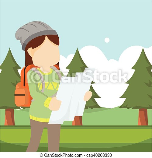 mappa, ragazza, viaggiatore, foresta, usando - csp40263330