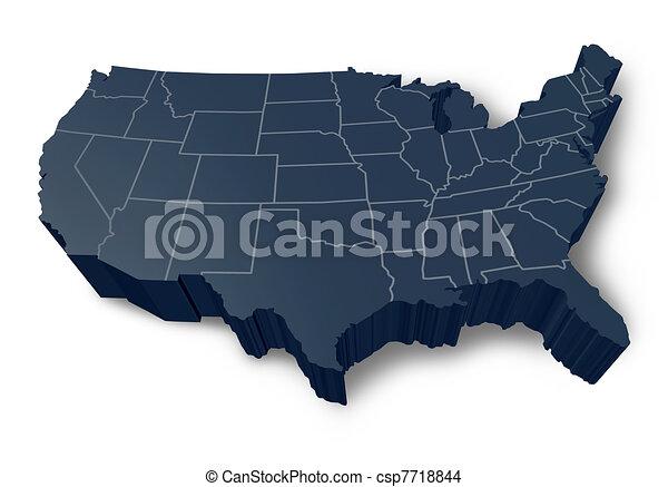 mappa, simbolo, 3d, americano, isolato - csp7718844