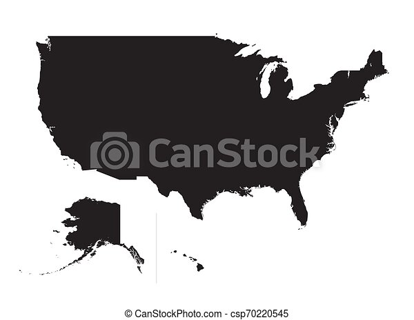 mappa, unito, silhouette, stati anneriscono, america - csp70220545